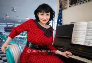 Sharon at the diner piano