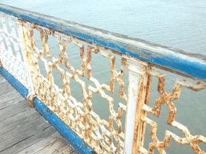 A dilapidated pier ballustrade